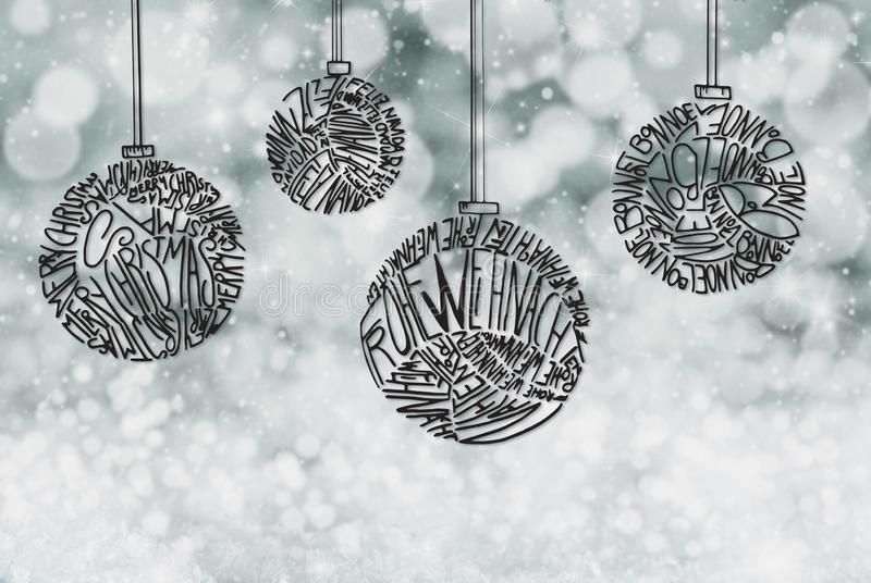 Christmas Tree Ball Ornament, Gray Sparkling Background royalty free stock image