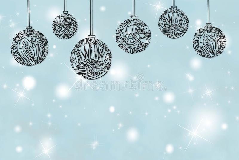 Christmas Tree Ball Ornament, Light Blue Background, Copy Space royalty free stock photo