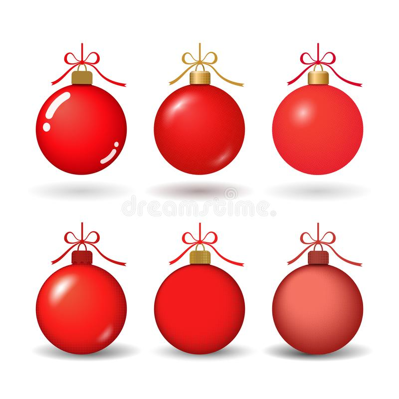 Christmas tree ball with ribbon bow. Red bauble set decoration, isolated on white background. Symbol of Happy New Year stock illustration