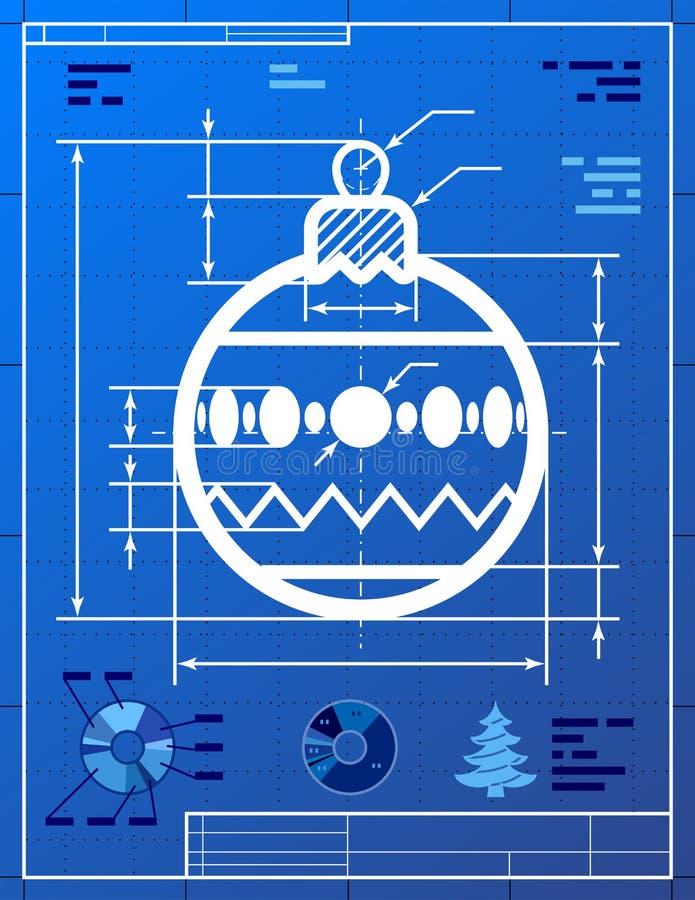 Christmas tree ball symbol like blueprint drawing vector illustration