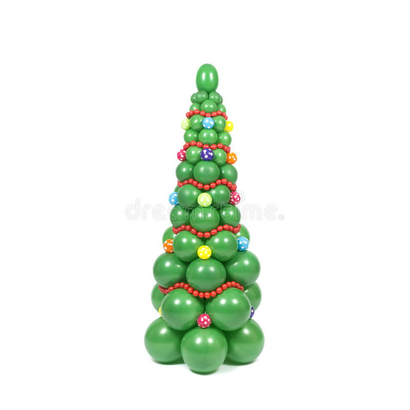 Christmas tree from balloons. Twisted balloon decorated christmas tree stock images