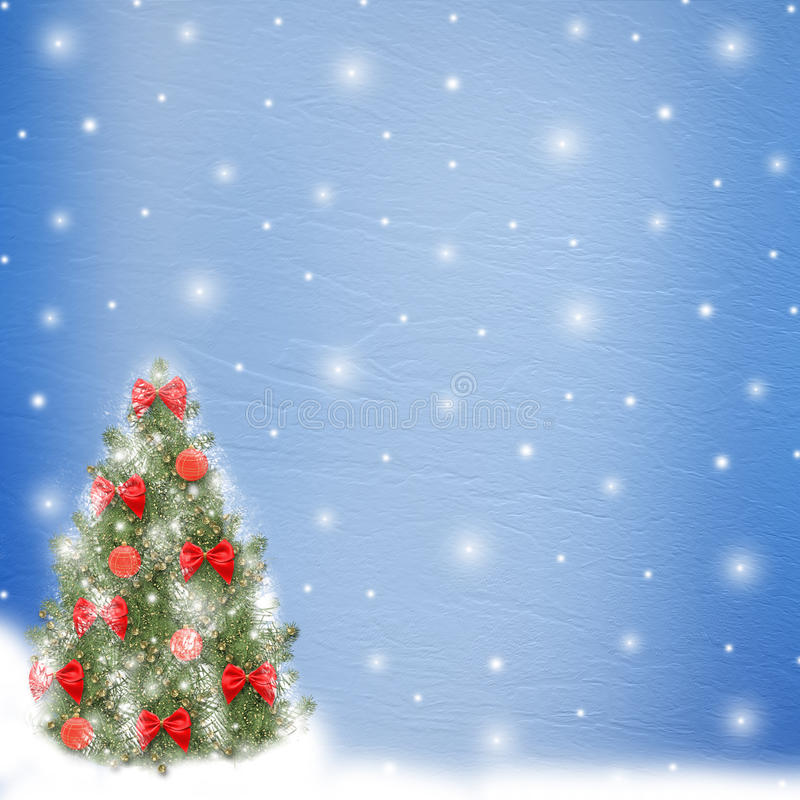 Christmas tree with balls and bows vector illustration