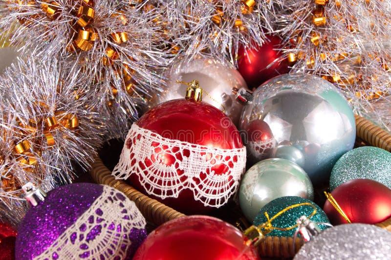 Christmas tree balls decorated with Vologda lace decor decoration folk art stock images