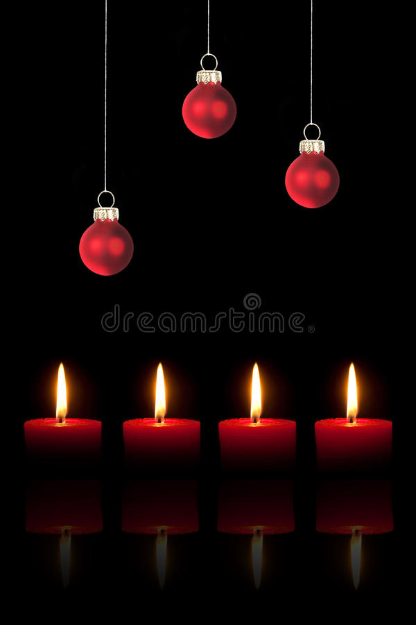 Download Christmas Tree Balls And Four Candles Stock Image - Image: 16420245