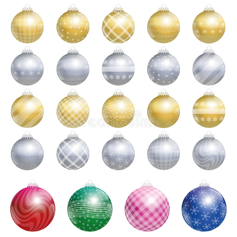 Christmas Tree Balls Gold Silver Twenty Four royalty free illustration