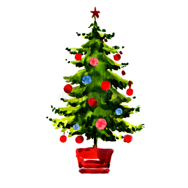 Watercolour Christmas Tree: Christmas Tree With Balls Isolated Stock Illustration