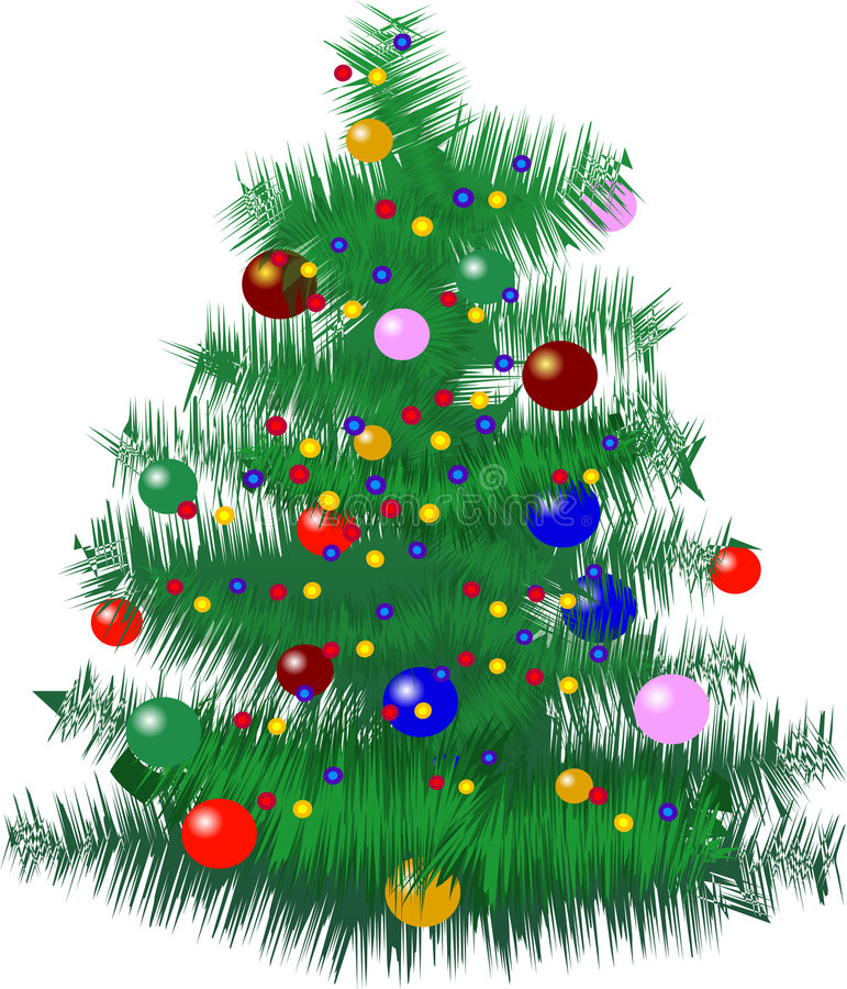 Christmas tree with baubles royalty free illustration