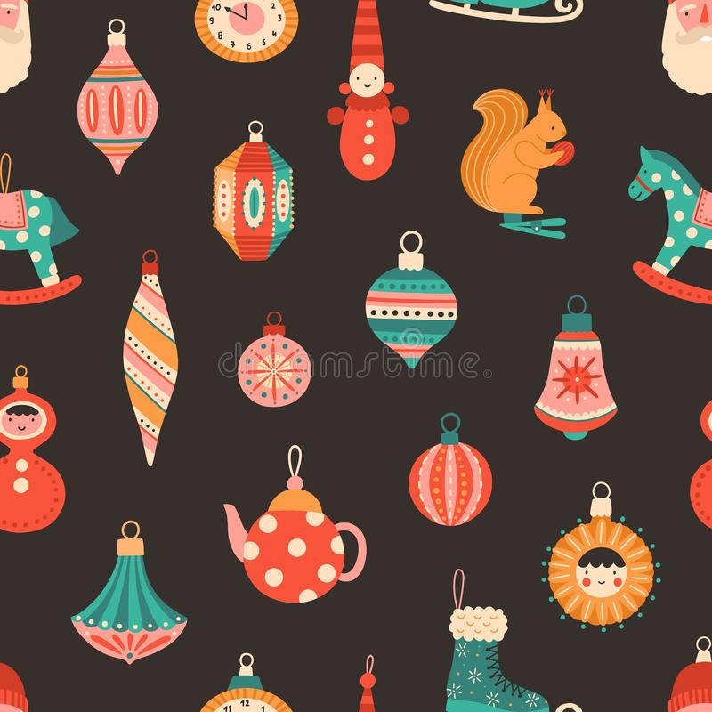 Christmas tree baubles flat vector seamless pattern. Black background with retro New Year decorations, ornaments. Winter vector illustration