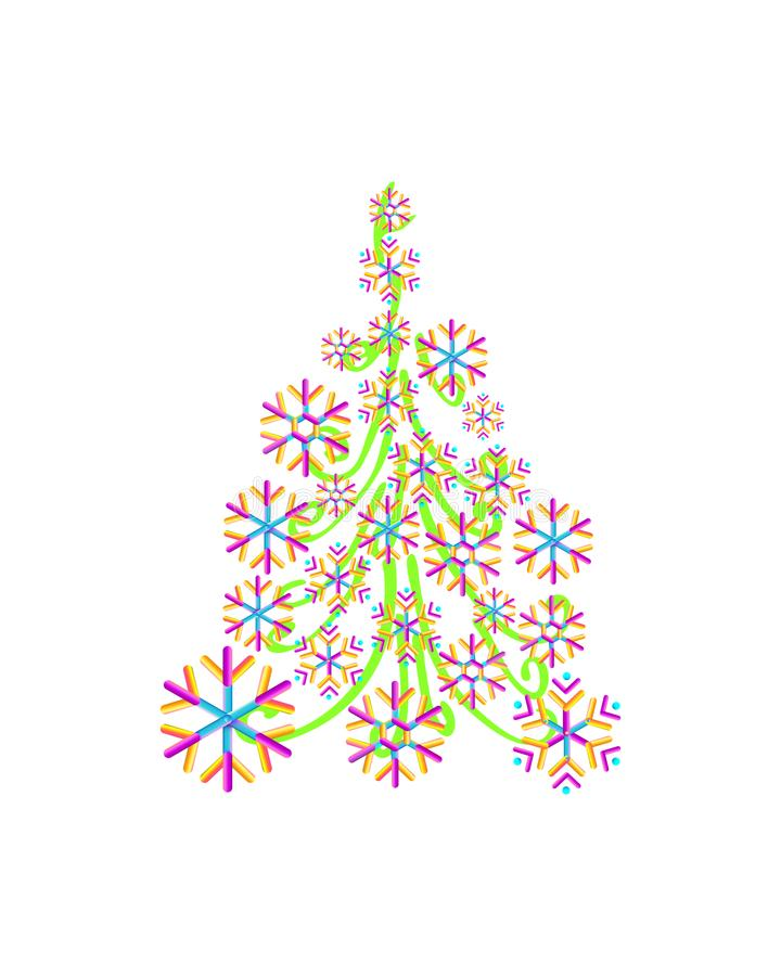 Christmas tree from beautiful geometric snowflake pattern for greeting card Happy New Year Christmas. Handmade. vector illustration