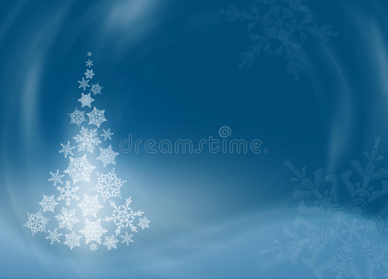 Christmas tree from beautiful snowflakes royalty free illustration