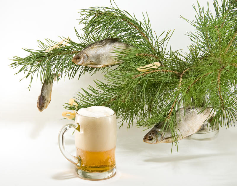 Christmas Tree for beer lovers. Christmas tree with dried fish as a decoration for beer lovers royalty free stock photography
