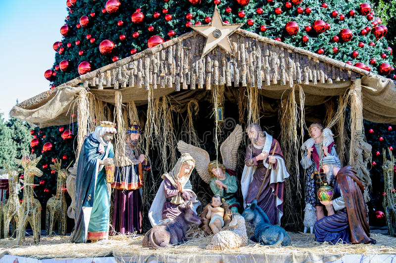 Christmas tree in Bethlehem, Palestine stock image