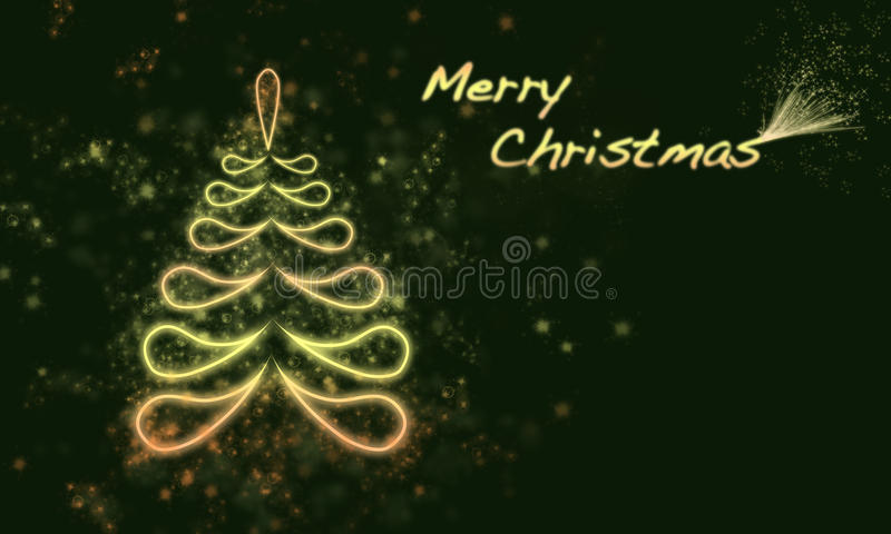 Christmas tree. And black christmas background royalty free illustration