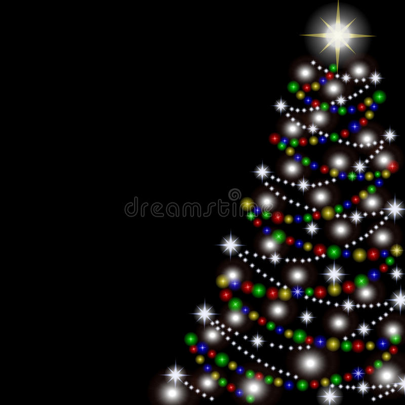 Christmas tree on a black background. Vector. Illustration. This is file of EPS10 format stock photo