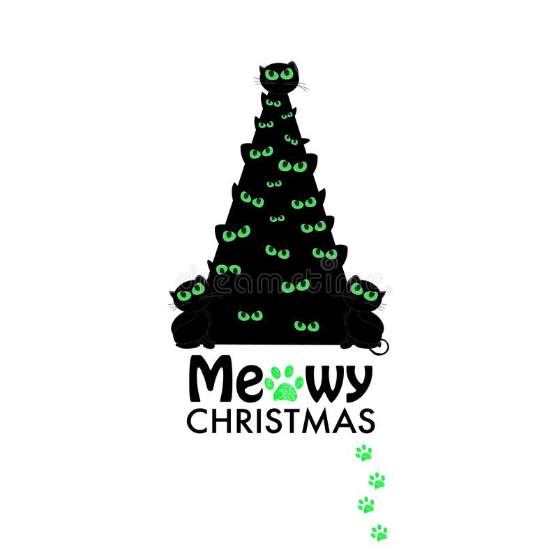 Christmas tree with black cat. ``Meowy Christmas`` text with paw prints. Happy new year greeting card. Background stock illustration