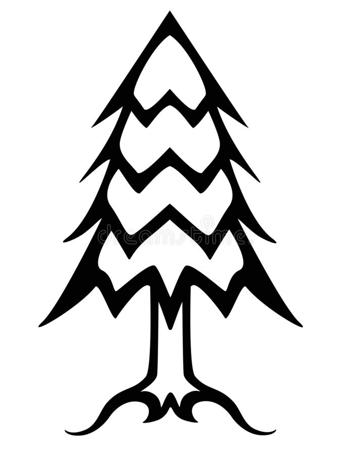 Christmas tree black and white linear picture. Outline conifer tree vector illustration. Christmas tree icon or logo. Tree: trunk, needles, roots royalty free illustration
