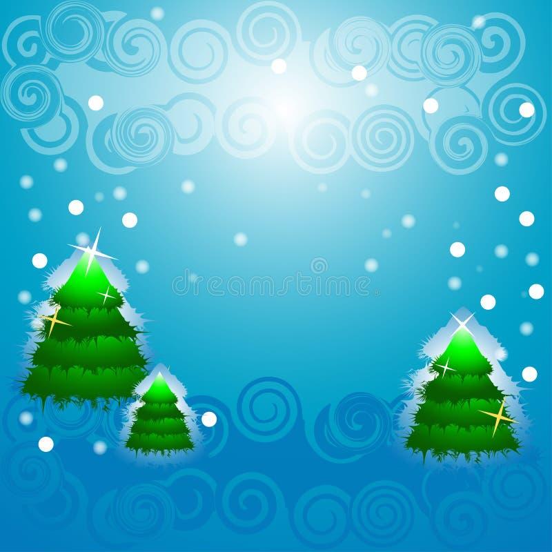 Christmas tree, blinking snow. Flakes, winter time royalty free illustration