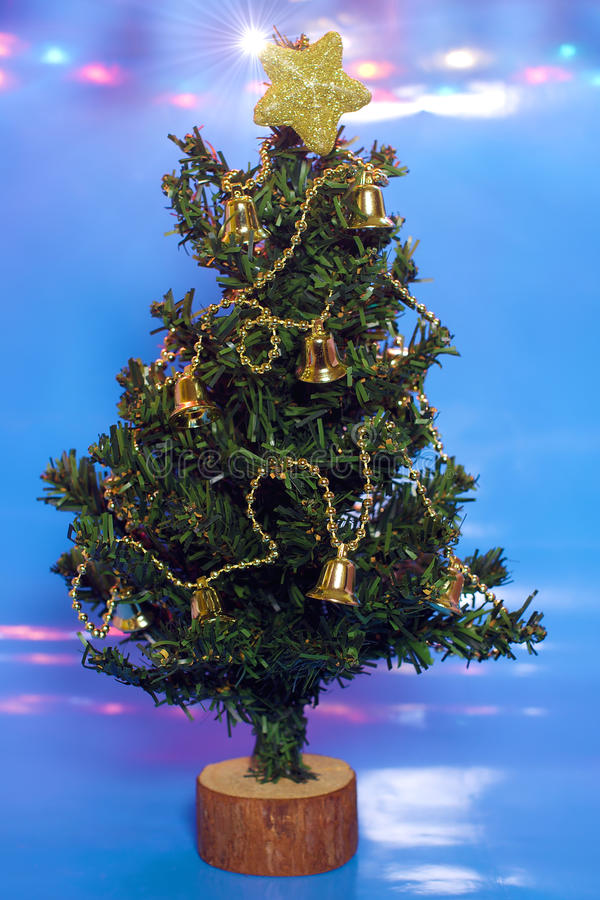 Download Christmas Tree On Blue Background And Lights Stock Photo - Image: 22112666