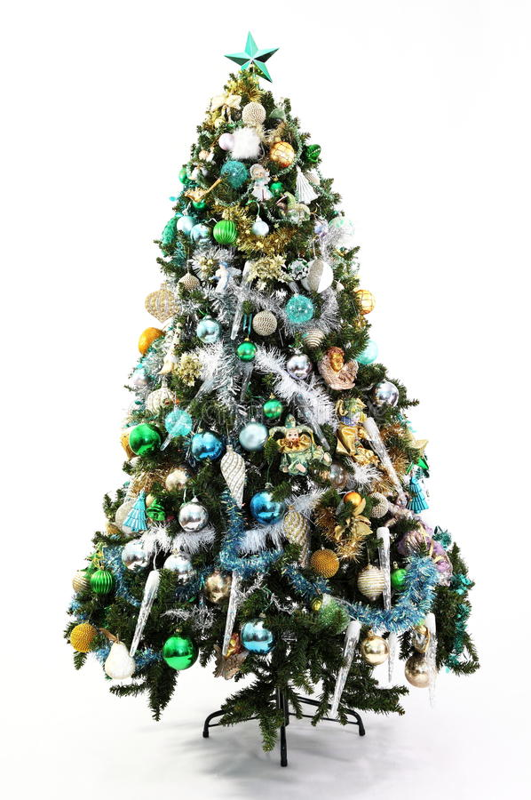 Christmas tree blue green and gold stock photo image of for Blue gold and white christmas tree
