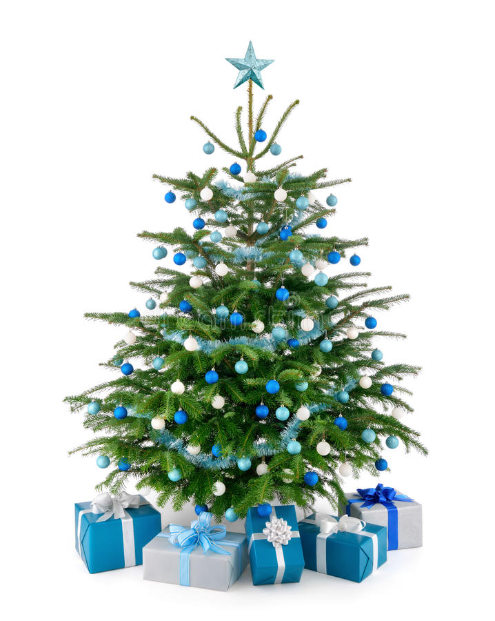 Christmas tree in blue and silver with gift boxes stock