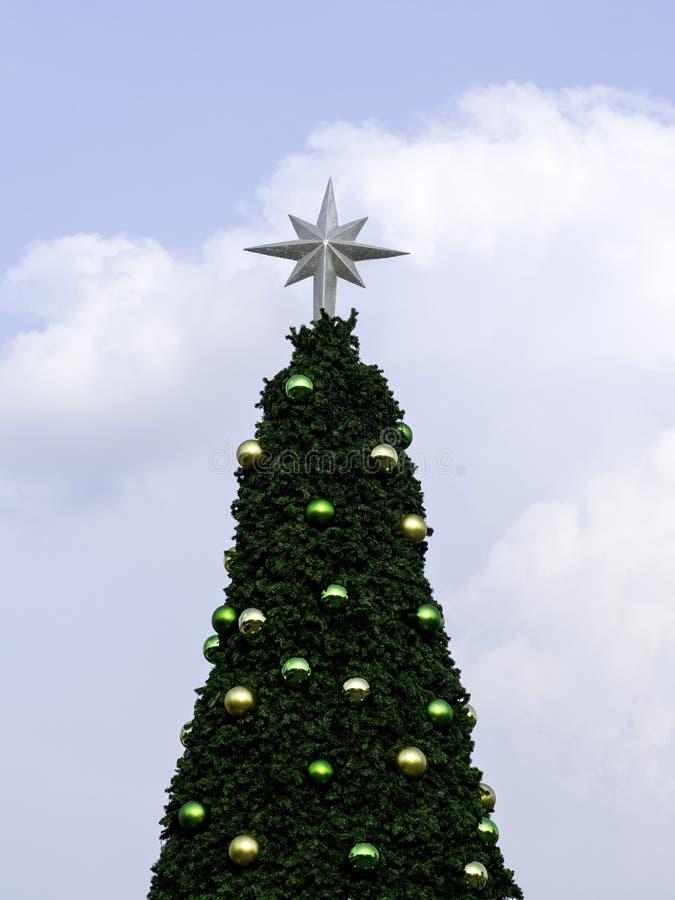 Christmas tree on blue sky stock photo