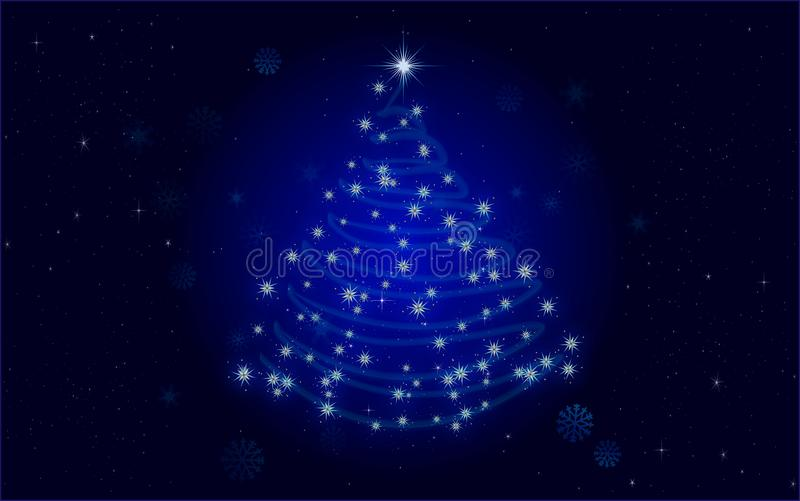 Christmas Tree Blue. Christmas Tree - Blue Sparkling Christmas Background Vector Illustration - with place for your own text royalty free illustration