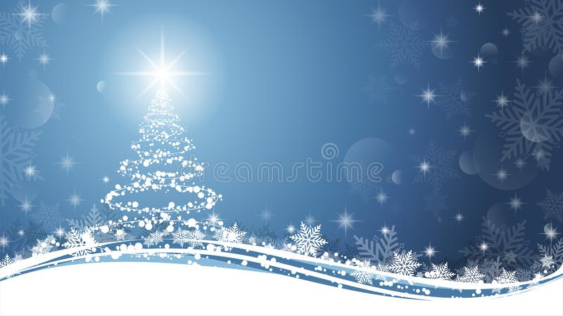 Christmas tree on Blue and White background. Sparkling Christmas tree as symbol of Happy New Year and Merry Christmas holiday. Celebration with copy space stock illustration