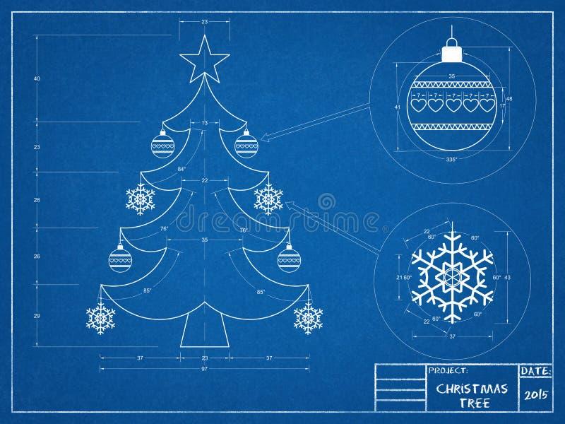 Christmas Tree Blueprin vector illustration
