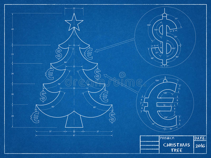 Christmas - Tree Blueprint stock photos