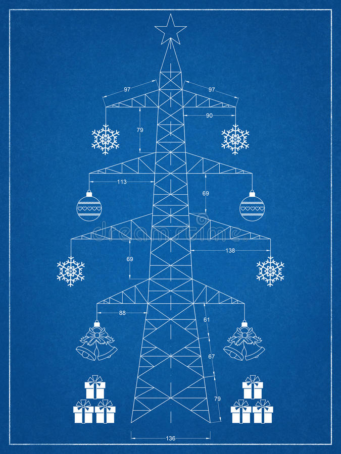 Christmas tree - blueprint stock illustration