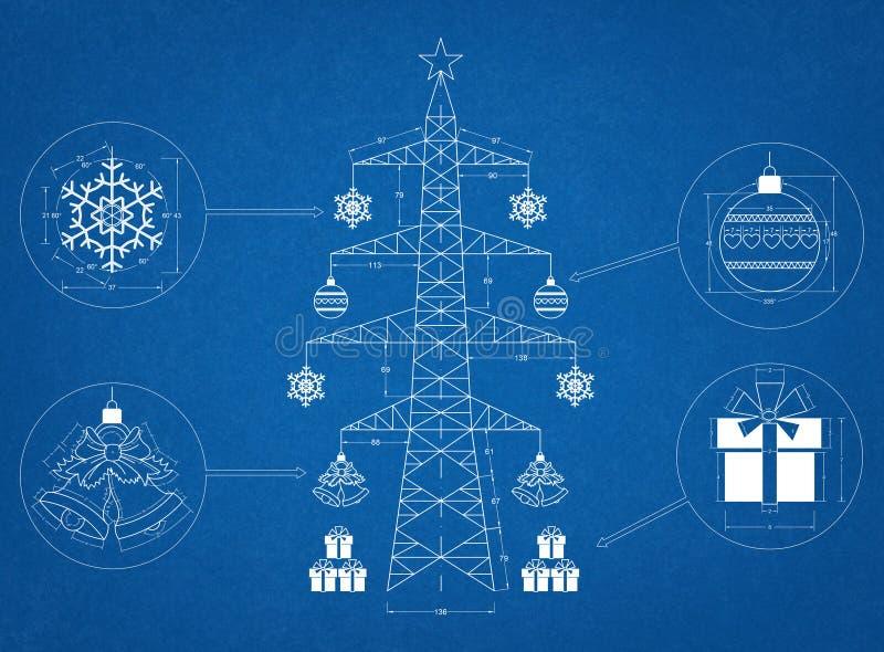 Christmas Tree Blueprint stock images