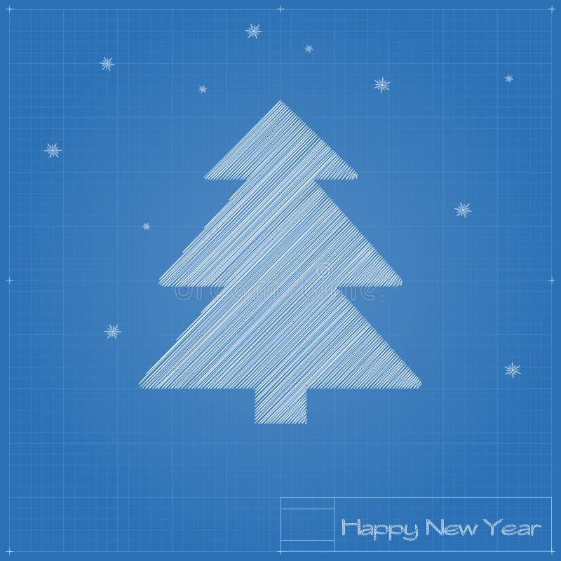 Download Christmas Tree On Blueprint. Stock Vector - Image: 35719823