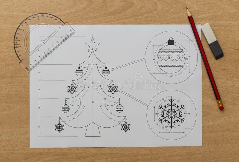 Christmas Tree Bluerpint stock photo