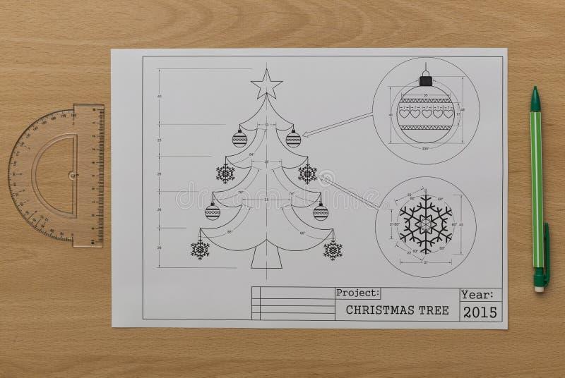 Christmas Tree Bluerpint royalty free stock image