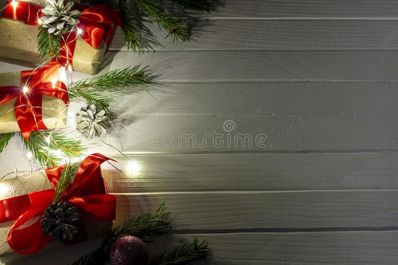 Christmas tree on blurred background. Happy new year and Merry Christmas background. Christmas tree on blurred background stock photos