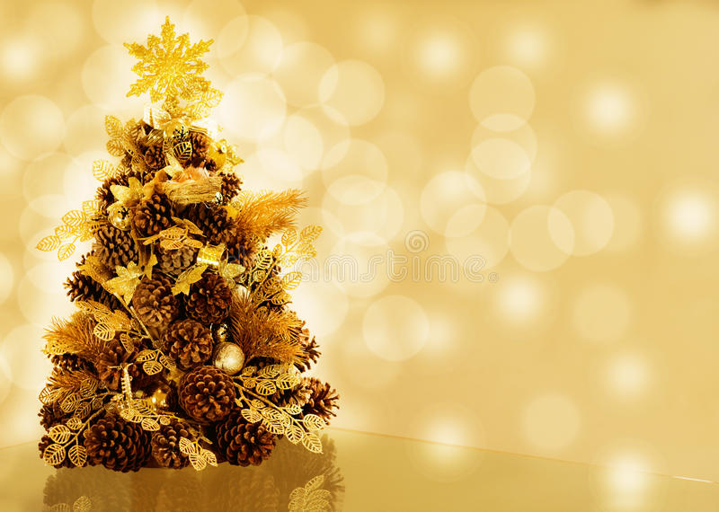 Christmas tree on bokeh background stock images