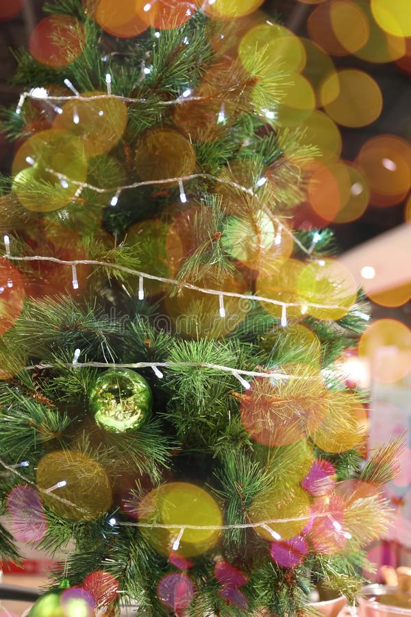 Christmas tree and bokeh of holiday background and have copy space. For design in your work concept royalty free stock photography