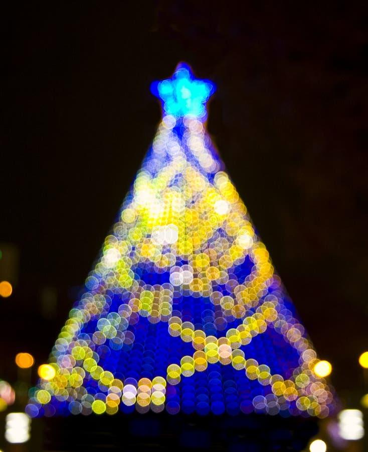 Christmas tree bokeh lights stock image