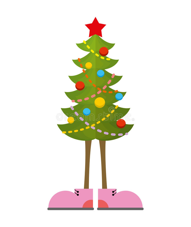 Christmas Tree in boots. Christmas tree in shoe. Pink shoes. vector illustration