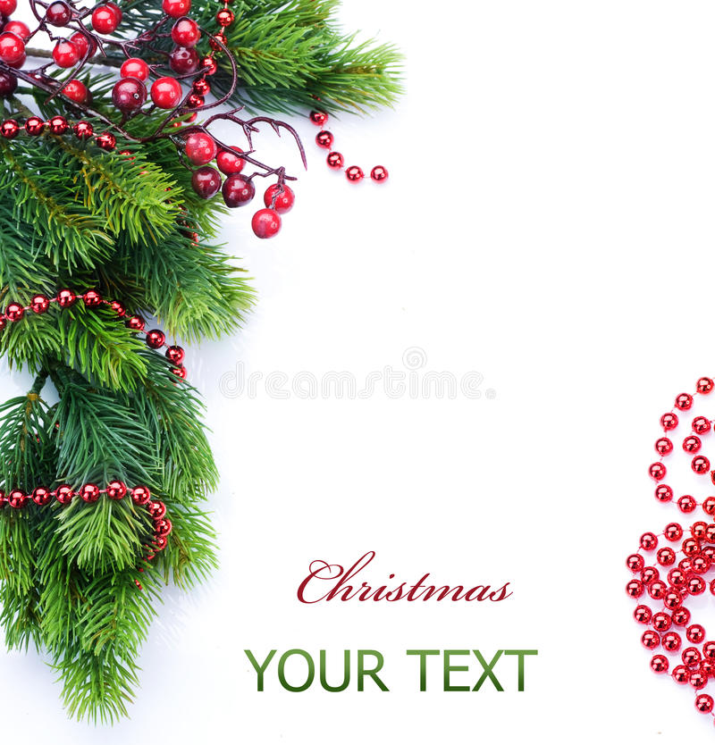 Christmas Tree Border. Beautiful Christmas Tree Border over white.With copy-space stock photo
