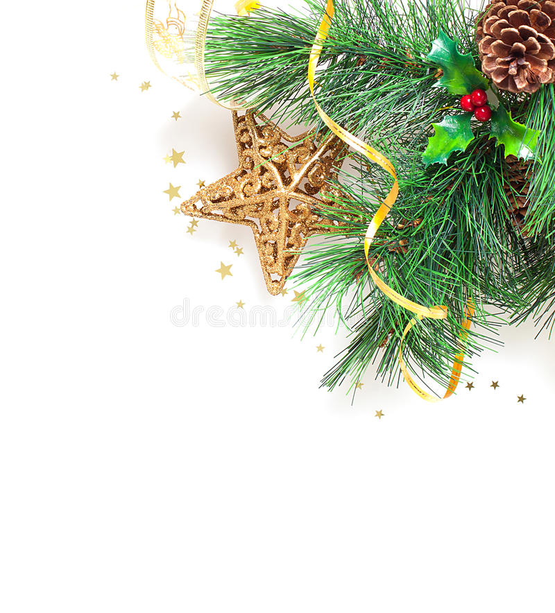 Christmas tree border. Picture of Christmas tree border, Christmastime greeting card, branch of evergreen tree with star toy and red berry on white background stock photo
