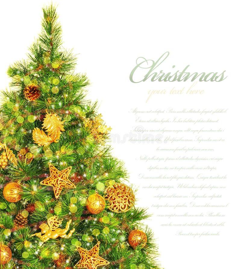 Christmas tree border. Picture of Christmas tree border, green pine tree decorated with cone, ribbons, golden angels and bauble isolated on white background stock image