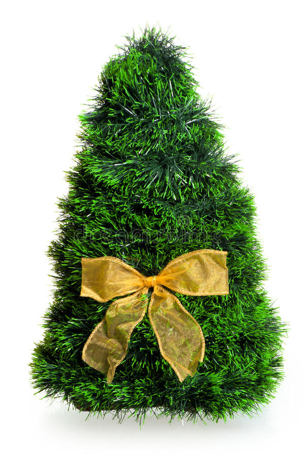 Christmas Tree With A Bow On A White Background Stock Photo