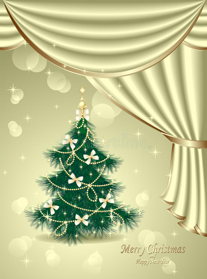 Download Christmas Tree With Bows, Stars, Garland, Light, D Stock Vector - Image: 33800409