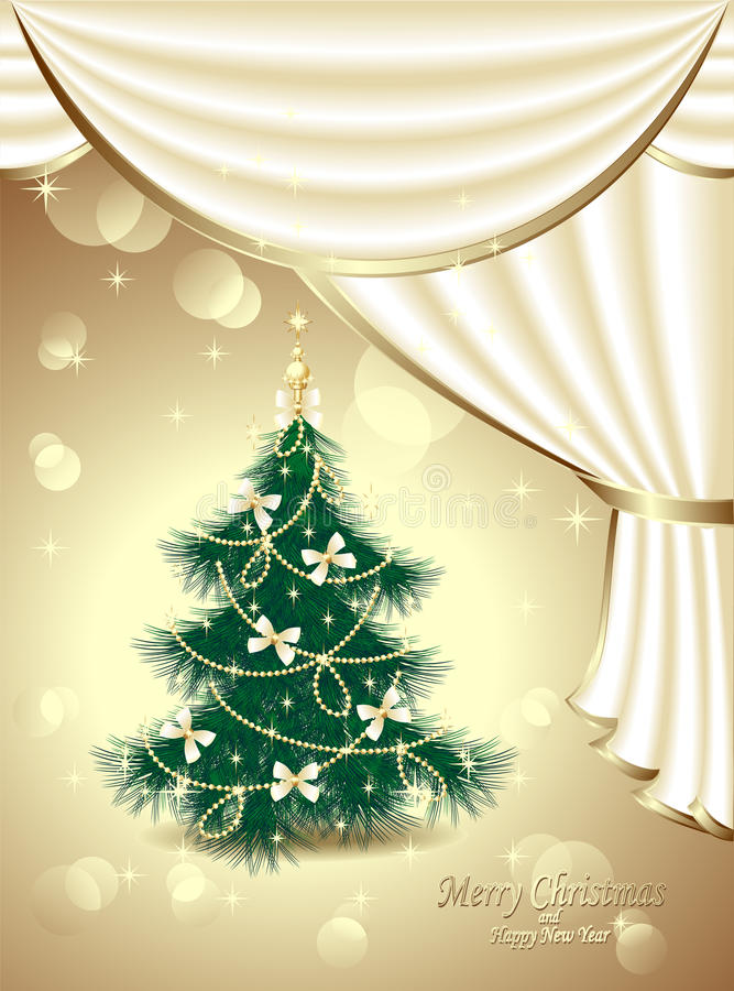 Download Christmas Tree With Bows, Stars, Garland, Light, D Stock Vector - Image: 33802254