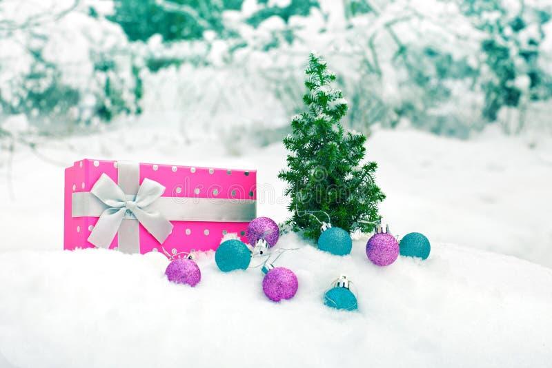 Download Christmas Tree And Box On Snow Stock Photo - Image: 36157390