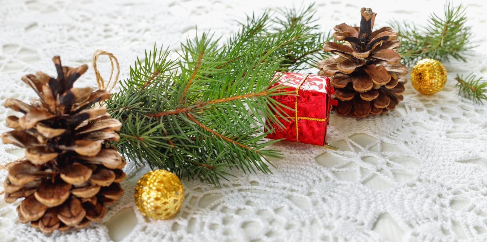 Christmas tree branch with gift in  red box stock photo