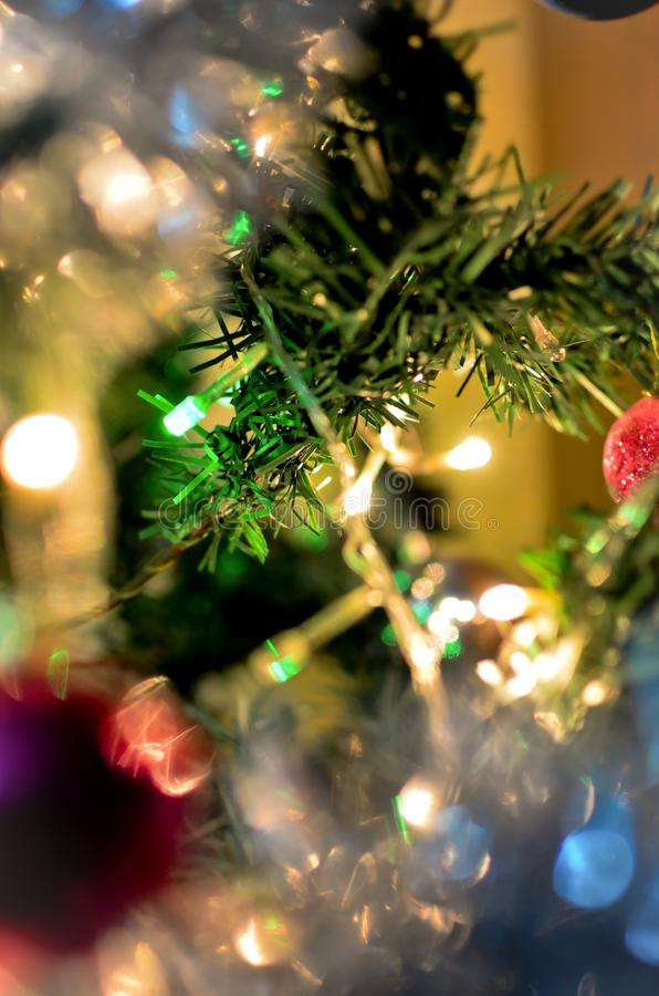 Christmas tree branch with glowing lights royalty free stock images
