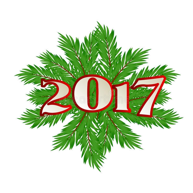 Christmas tree branch. New 2017. Vector. Christmas tree branch. New 2017 Vector illustration stock illustration