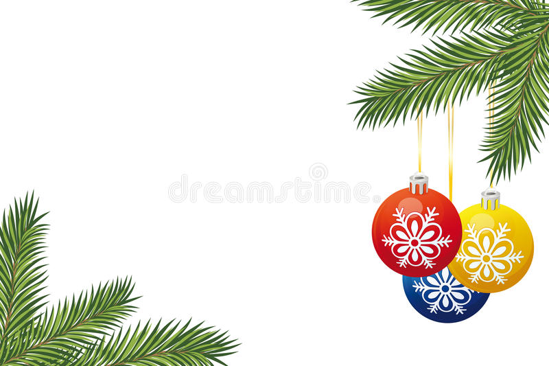 Christmas tree branch and toys stock images